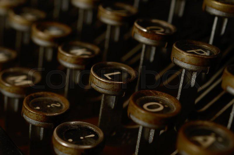 Detail of an old typewriter, stock photo