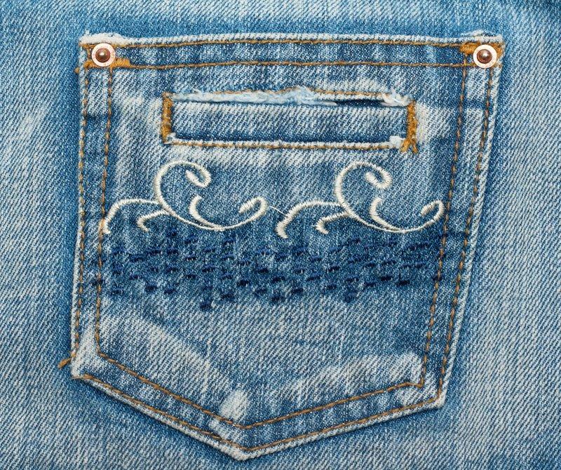 Jeans pocket, Muster auf Stoffen, Nieten und Nähte nähen Sticken ...