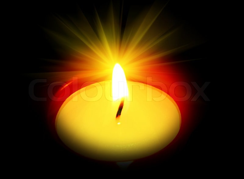 Candle Burning Bright In The Dark Stock Photo Colourbox