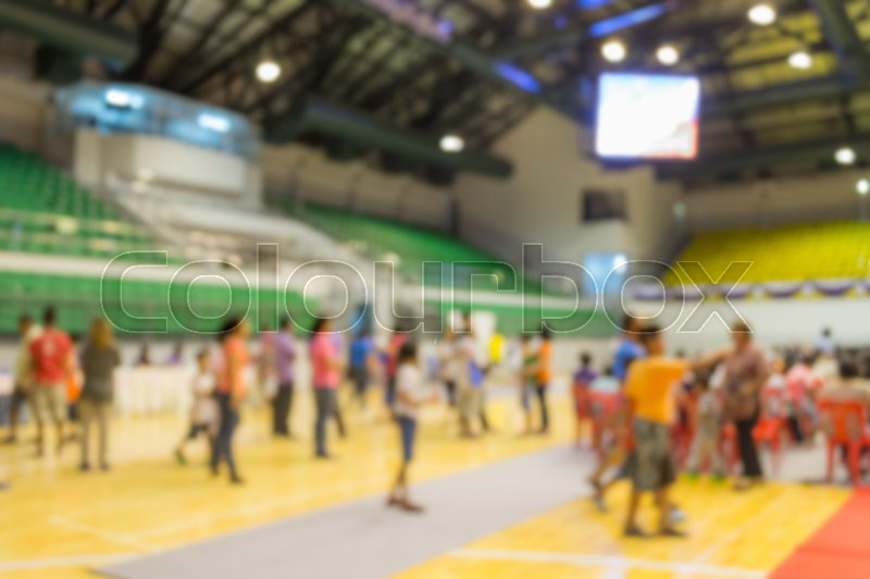 Abstract of blurred people in the public indoor stadium, stock photo