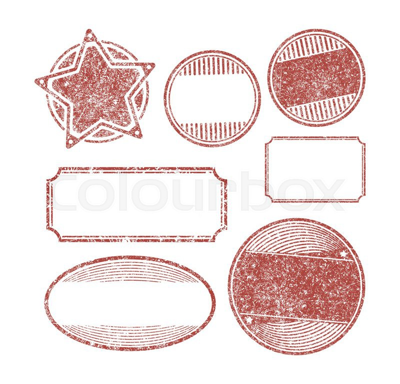 set of 7 rubber stamps templates stock vector colourbox