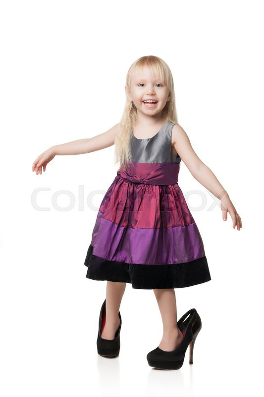 Smiling Little Girl Wearing Big Shoes Isolated On White -6218