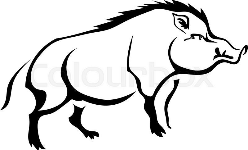 black silhouette wild boar on white background isolate vector rh colourbox com wild boar head clipart