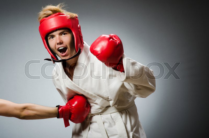 Funny boxer in sport concept, stock photo