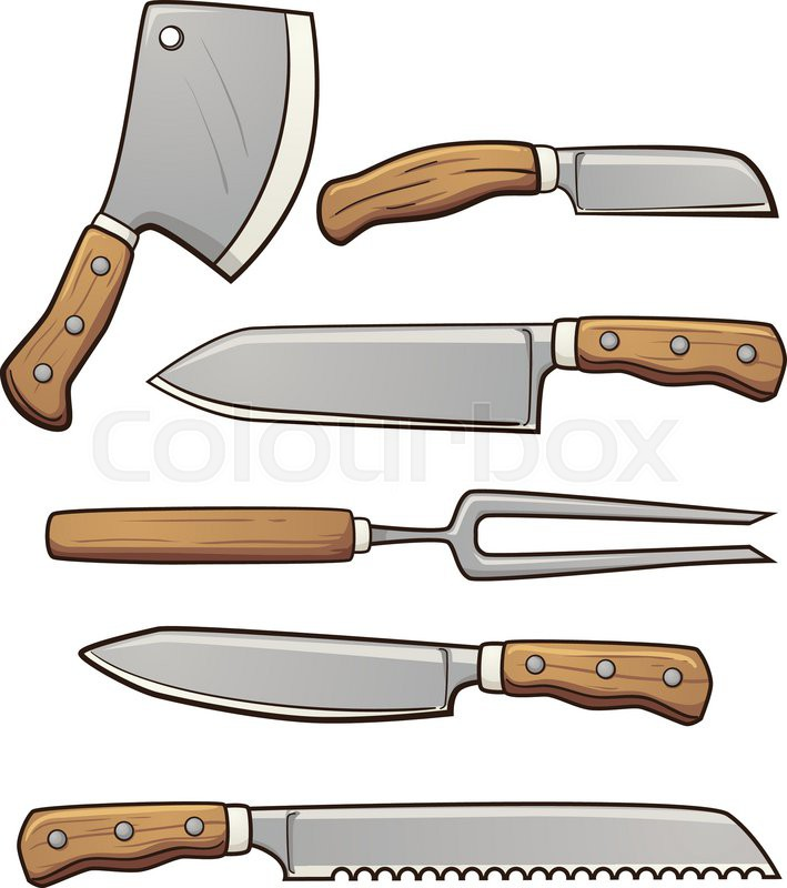 Cartoon kitchen knives. Vector clip art illustration with ...