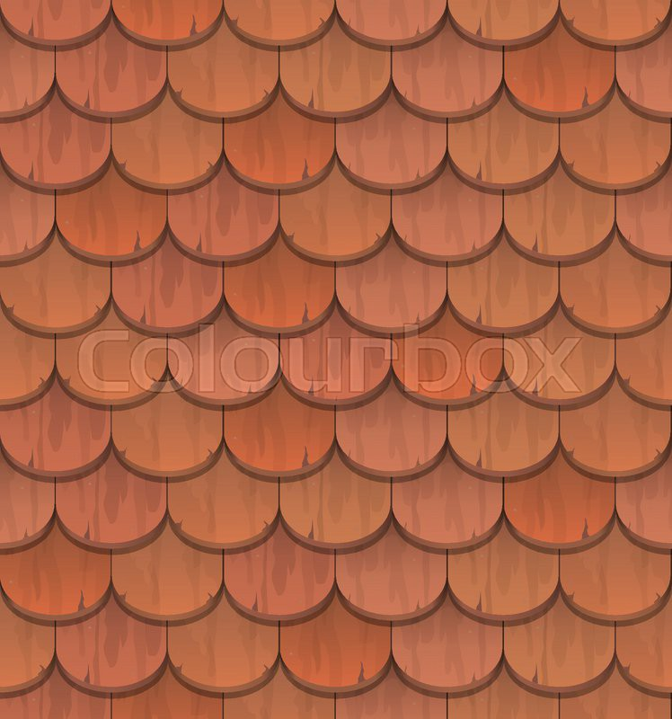 Red Clay Roof Tiles Vector Seamless Pattern Stock