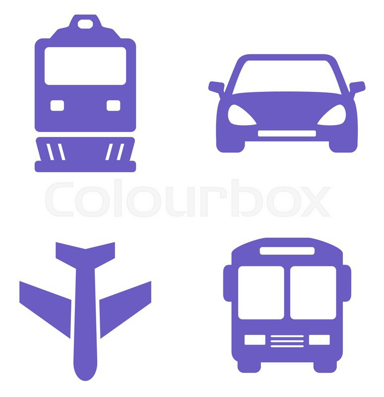 transport icon set with train plane car and bus silhouette stock vector colourbox. Black Bedroom Furniture Sets. Home Design Ideas