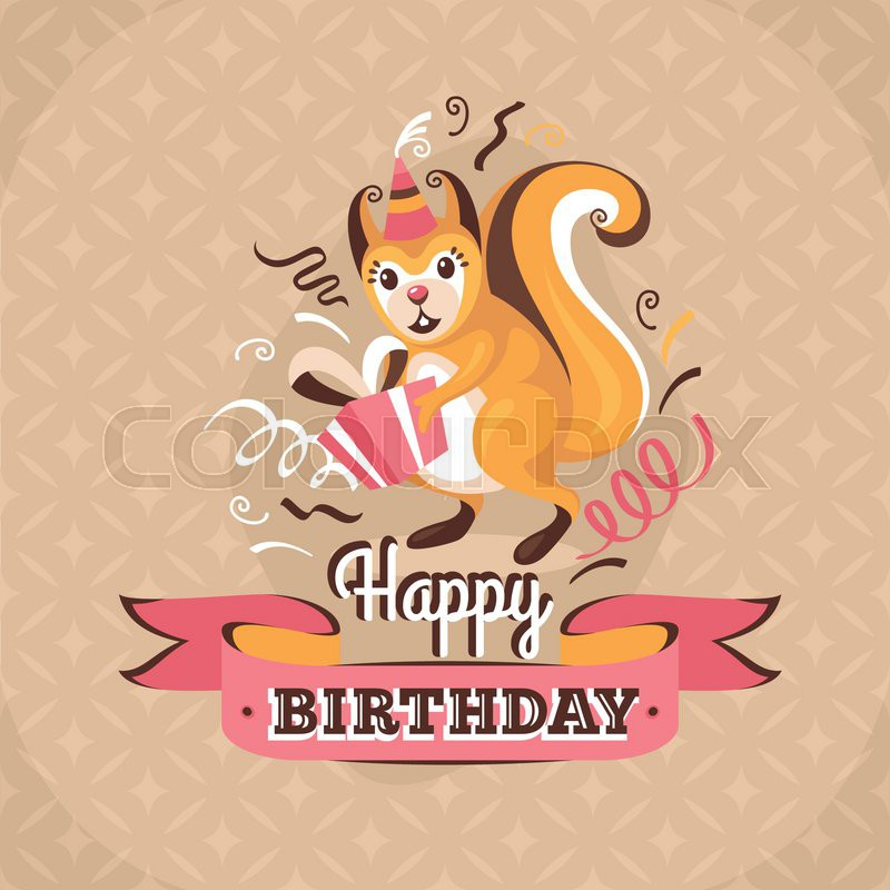 Vintage birthday greeting card with a squirrel holding a present on a retro background stock vector colourbox vintage birthday greeting card with a squirrel holding a present on a retro background stock vector colourbox m4hsunfo
