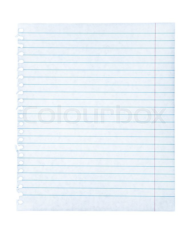Notebook paper on an isolated white background, stock photo