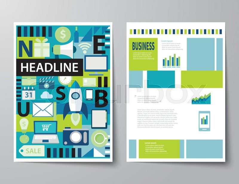 Populaire Headline startup set of magazine cover , flyer, brochure flat  HA19