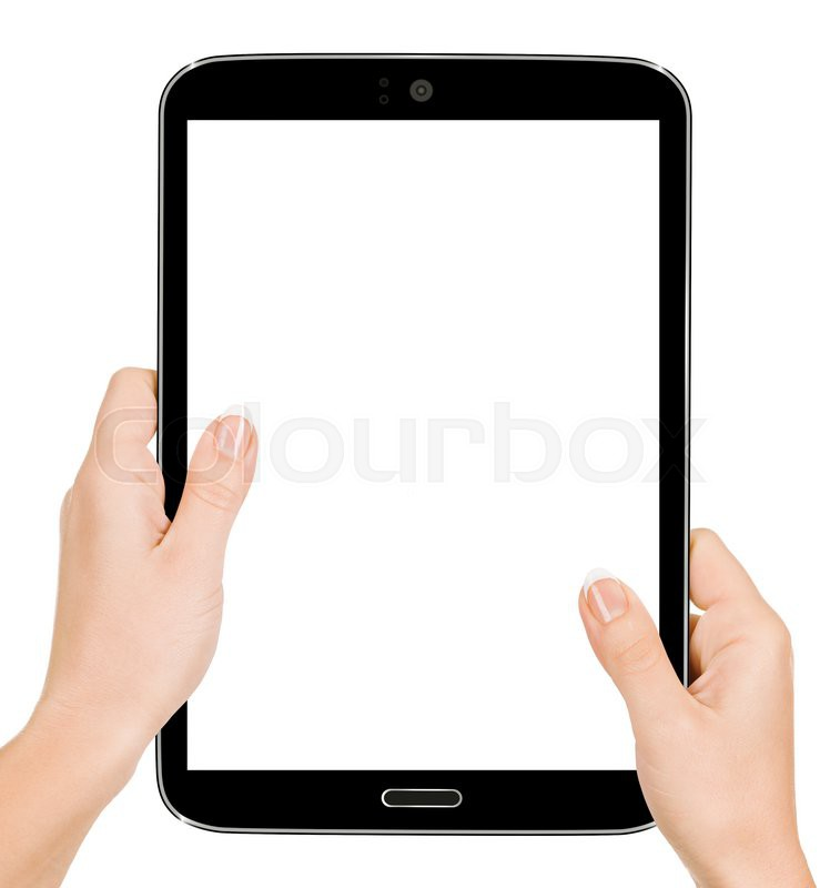 Hand Holding Tablet Pc With Touching High Quality