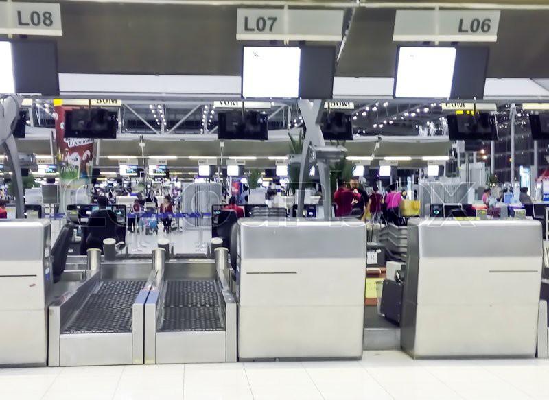 BANGKOK, THAILAND - MARCH 22: Check in counters in Suvarnabhumi international airport, Bangkok, Thailand on March22, 2015, stock photo