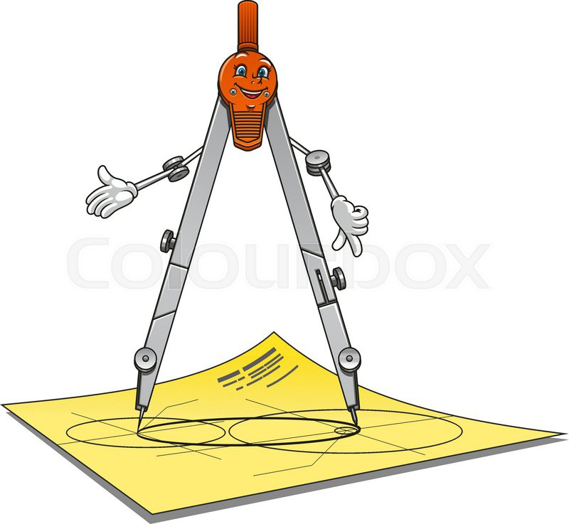 Stock Vector Of Cartoon School Or Architecture Compass Character With Happy Smiling Face Standing On
