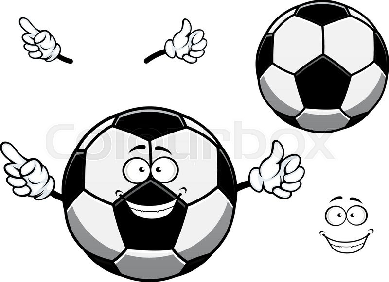 cartoon football or soccer ball mascot character with cheerful
