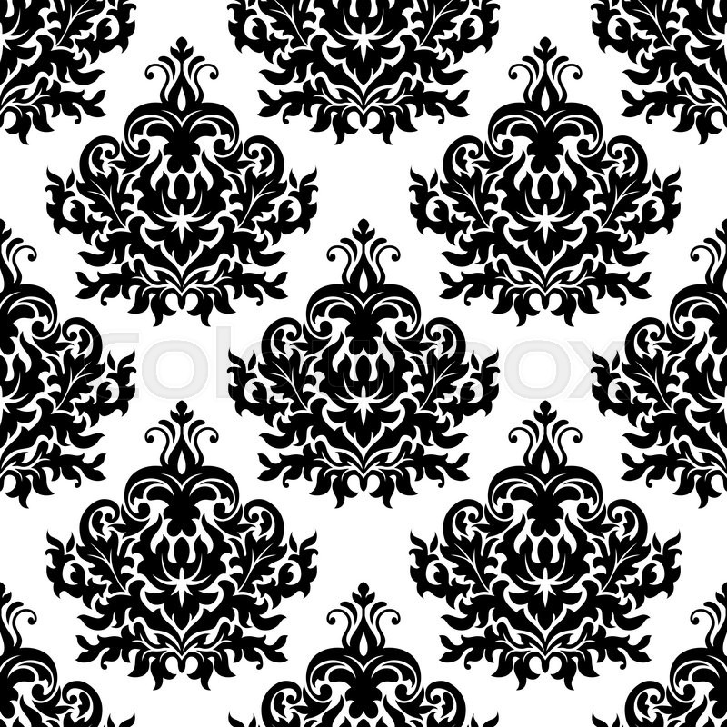 Seamless victorian floral black and white pattern with ...