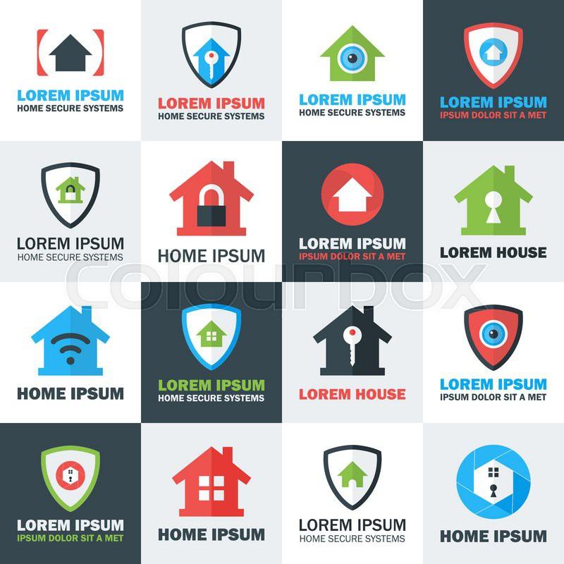 home security logos set flat stylized vector logos