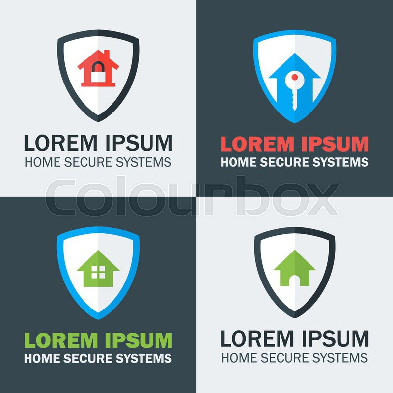 home security with shield logo design concepts four flat stylized