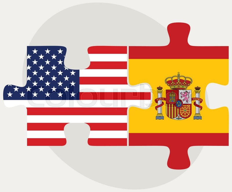 vector image usa and spain flags in puzzle isolated on white