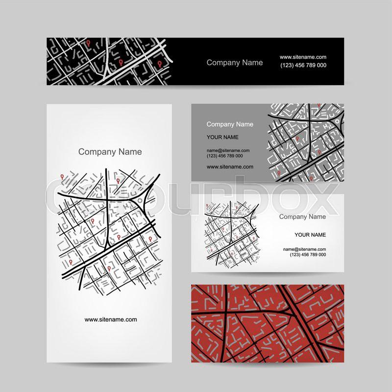 Sketch of city map, business card design. Vector illustration ...