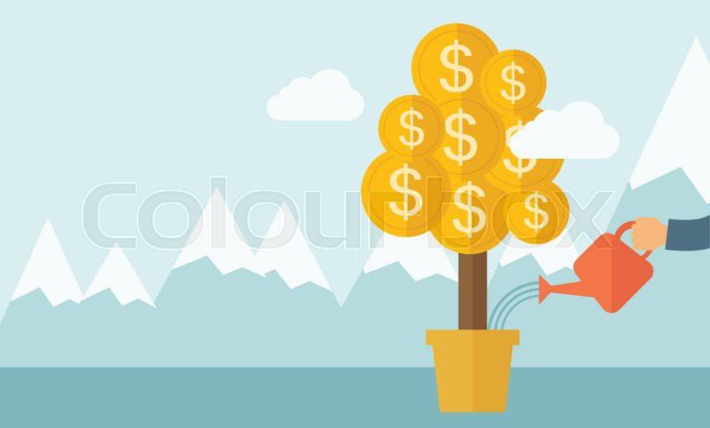 A human hand watering money dollar coin tree to grow bigger. Hardworking concept. A contemporary style with pastel palette soft blue tinted background with desaturated clouds. Vector flat design illustration. Horizontal layout, vector