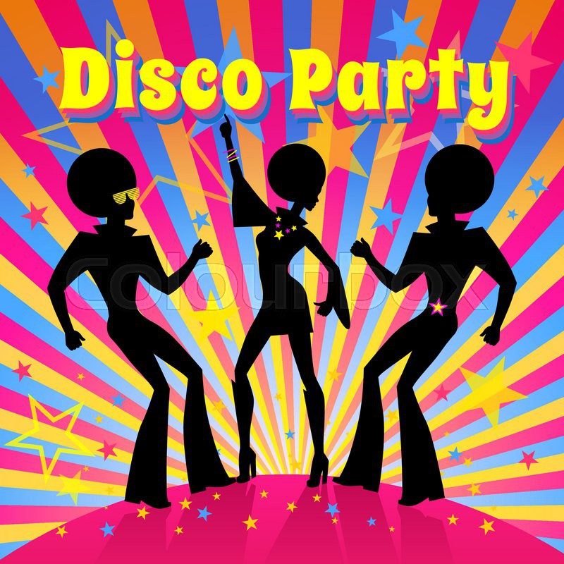 Disco Party invitation template with silhouette of a dancing people ...