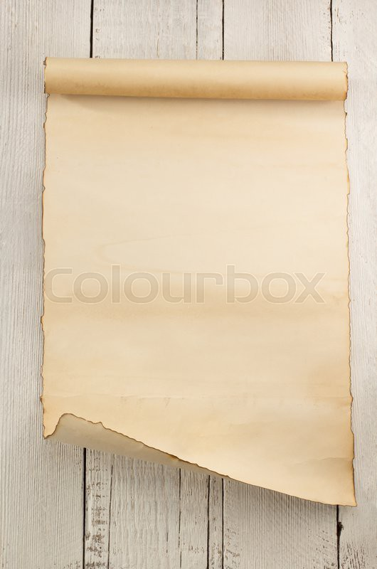 parchment scroll on wooden background stock photo colourbox