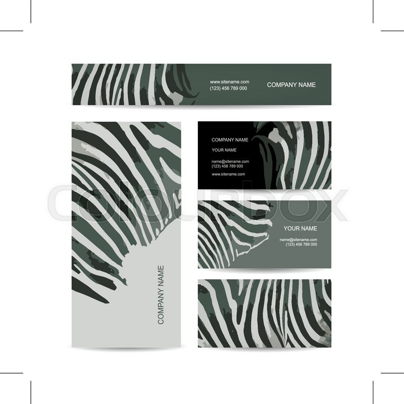 Set of abstract creative business cards zebra print design set of abstract creative business cards zebra print design vector illustration vector reheart Gallery