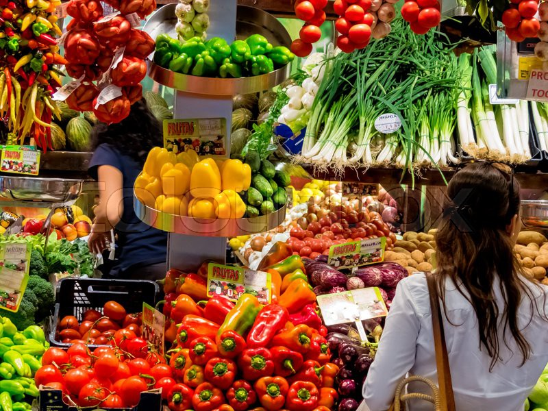Fresh fruits and vegetables at the fruit market. vegetable market with organic foods, stock photo