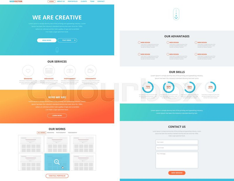 One page website design template in flat design style for web one page website design template in flat design style for web development business concept wireframe stock vector colourbox wajeb Choice Image
