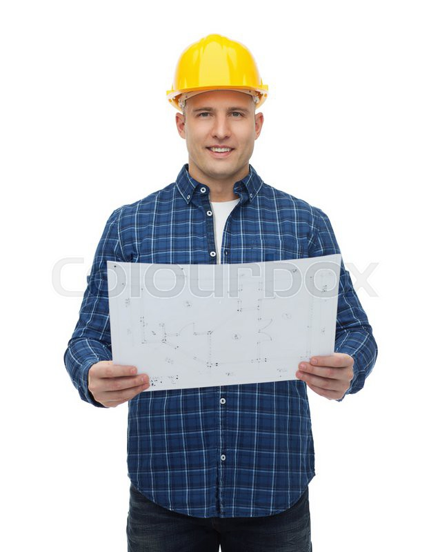 Repair construction building people and maintenance concept repair construction building people and maintenance concept smiling male builder or manual worker in helmet with blueprint stock photo colourbox malvernweather Images