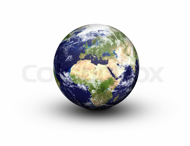 Earth globe in 3d in high resolution showing europe and africa earth globe in 3d in high resolution showing europe and africa isolated on a white background with clipping path map with clouds used from nasa imagery publicscrutiny Image collections
