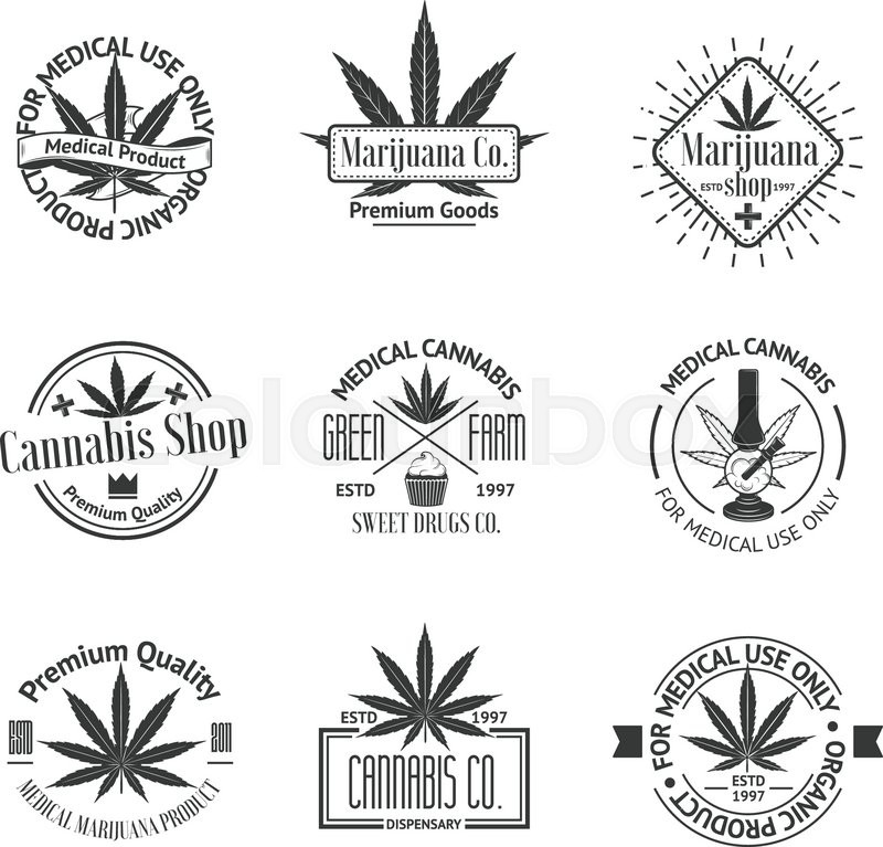 Set Of Medical Marijuana Logos Cannabis Badges Labels And Logos