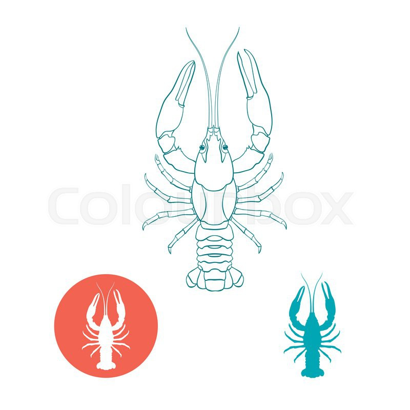 Crayfish Silhouette And Flat Icon Vector Illustration Stock