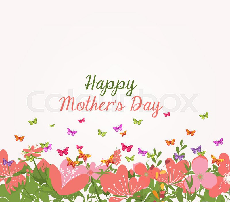 Mothers Day Invitation With Abstract Flowers Background Vector