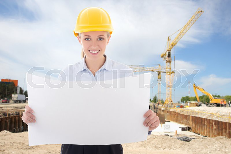 834d3a8db7b Stock image of  happy business woman architect in yellow builder helmet  holding building plan at