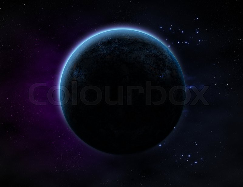 Stock image of 'A planet with glow in outer space with lots of star and purple/blue haze.'