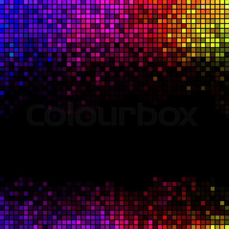 Multicolor Abstract Lights Disco Background Square Pixel