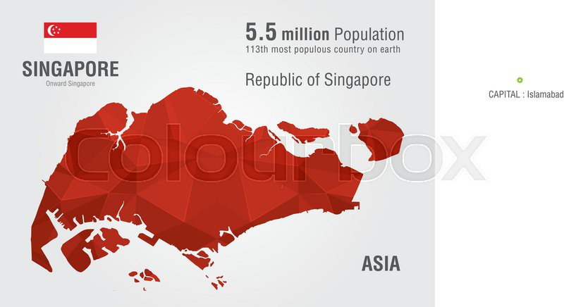 Singapore World Map With A Pixel Stock Vector Colourbox