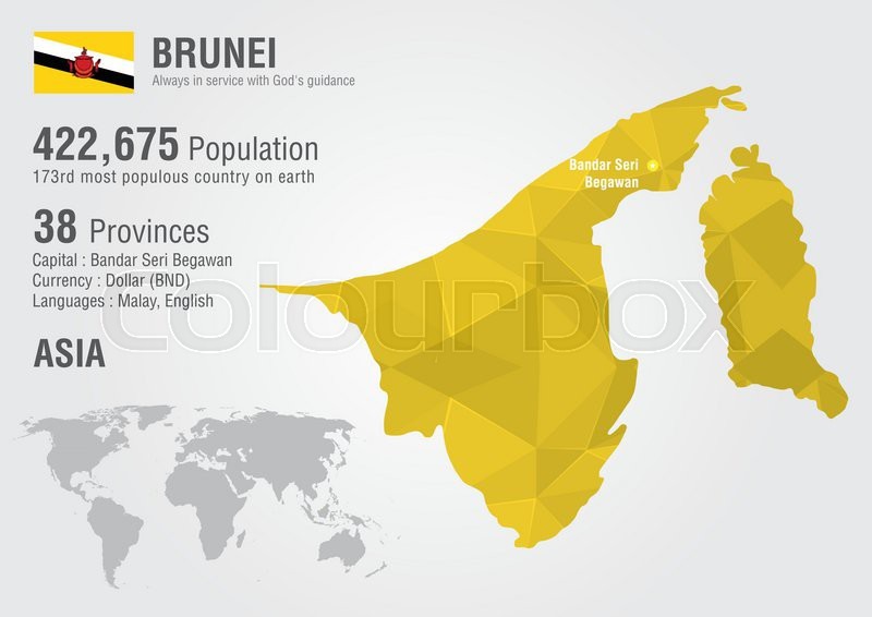 Brunei World Map With A Pixel Diamond Stock Vector Colourbox