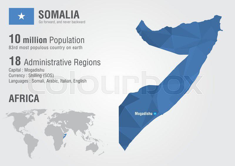 Somalia world map with a pixel diamond texture. World Geography ...
