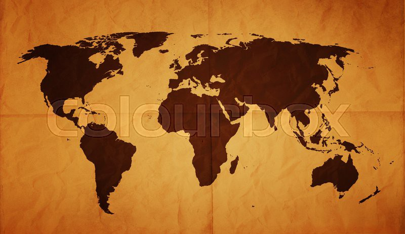 Old world map on creased and folded old paper with stains on map old world map on creased and folded old paper with stains on map hand traced from images on httpvisibleearthsa stock photo colourbox gumiabroncs Choice Image