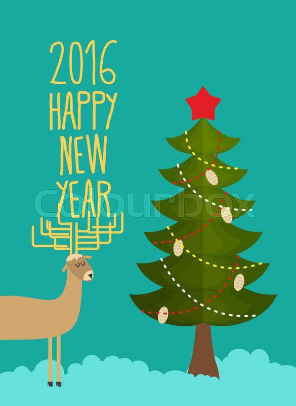 Christmas tree and deer holiday card for christmas and for Wildlife christmas cards 2016