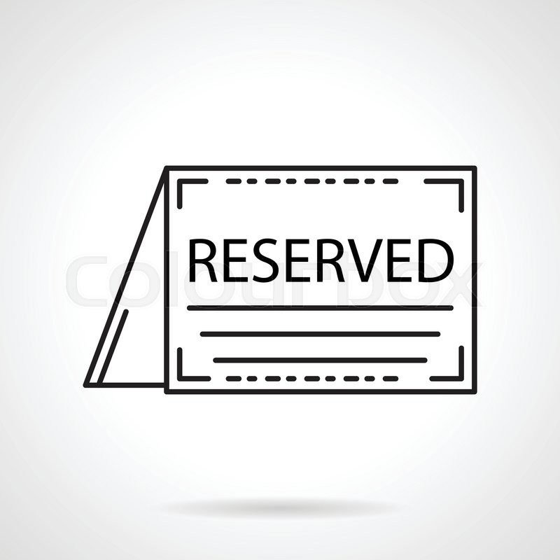 table reservation card template - black flat line vector icon for reservation table folded