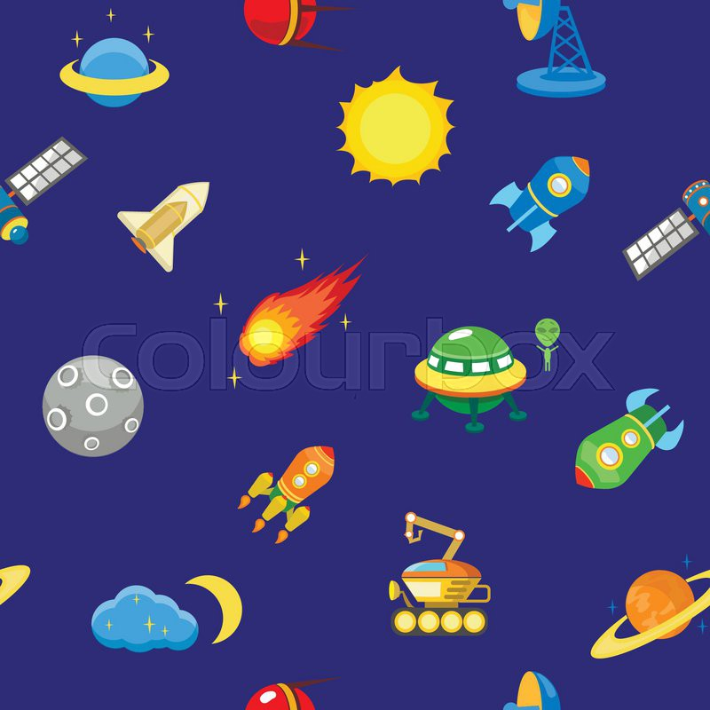 Seamless Space Pattern Planets Stock Vector Colourbox