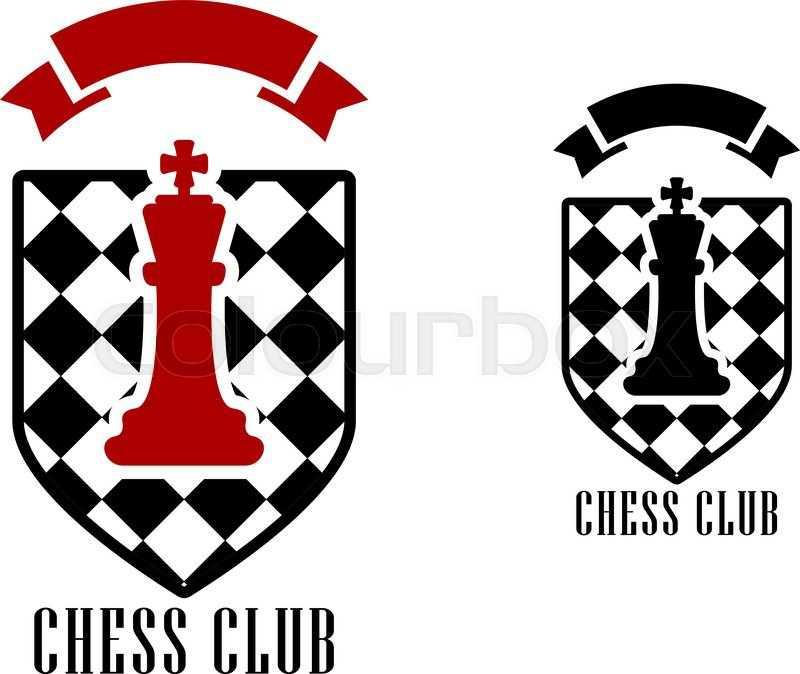 Chess club logo or emblem template including figure of red king on ...