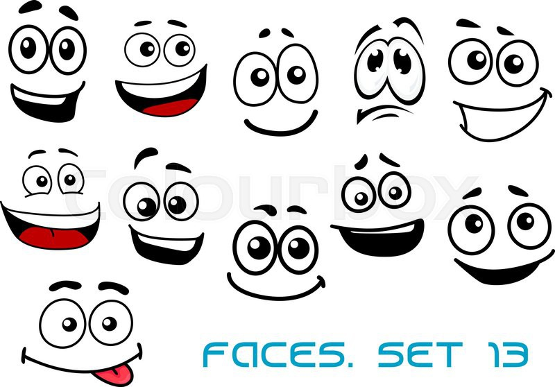 cute cartoon emotional faces with toothy shy teasing and sad rh colourbox com smiling faces cartoon pictures smiling faces cartoon pictures