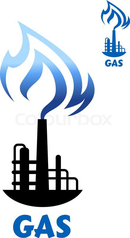 Gas Production Industry Symbol Showing Black Silhouette Of