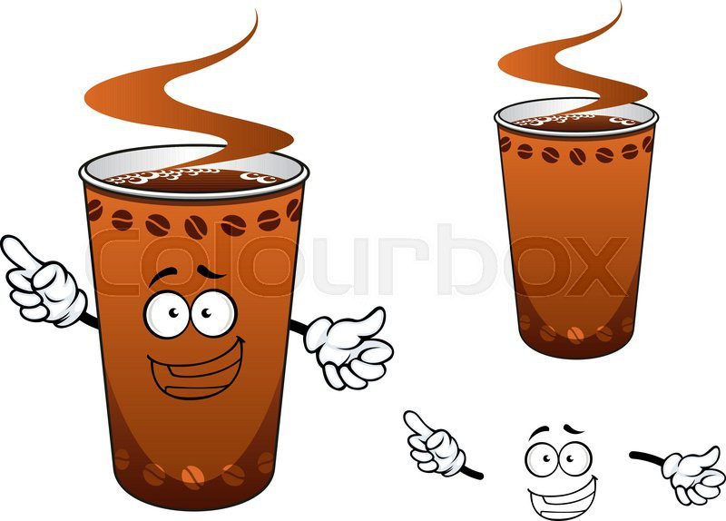 Happy Takeaway Brown Hot Coffee Cup Cartoon Character Decorated With Beans For Fast Food Or Drink Design