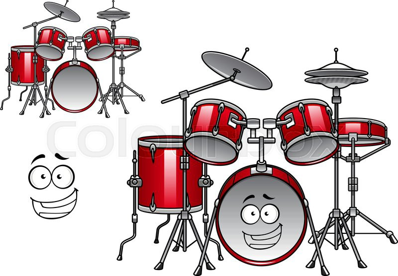 Cartoon Red Drum Set Character With Shiny Cymbals And Happy Smiling