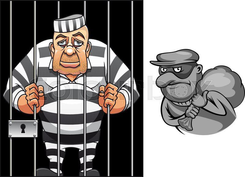 Cartoon Prisoner In Jail Behind The Bars In Striped